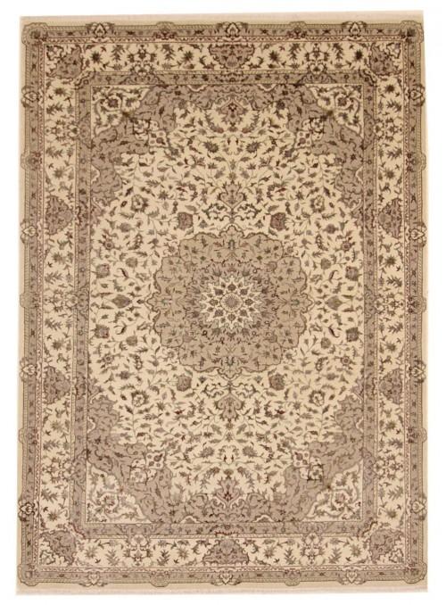 Luxury hand made carpet Tabriz 205x305cm wool and silk beige/brown