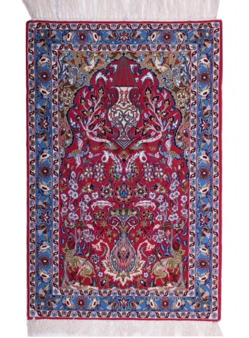 Hand-made persian luxury carpet Isfahan ca. 70x110cm 100% wool Iran