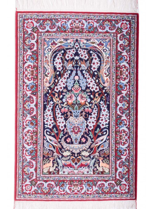 Hand-made persian luxury carpet Isfahan ca. 105x160cm wool and silk Iran