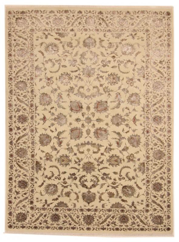 Luksusowy ręcznie tkany dywan Tabriz Iran wełna i jedwab 205x305cm beż/brąz