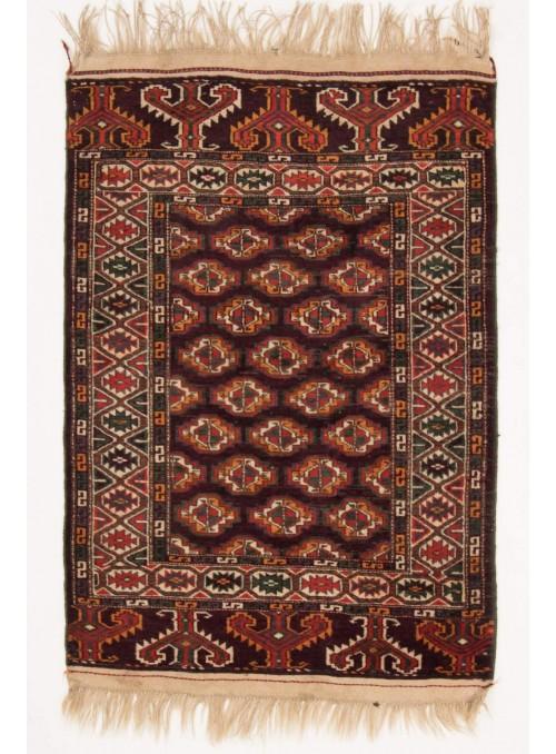 Ręcznie tkany dywan Turkmenistan Bashir czerwony ok 110x145cm 100% wełna