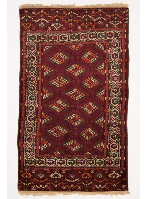 Ręcznie tkany dywan Turkmenistan Turkmen czerwony ok 120x200cm 100% wełna