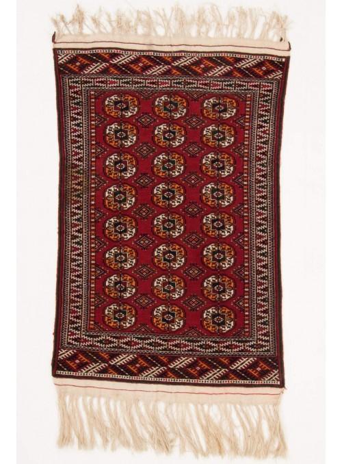 Ręcznie tkany dywan Turkmenistan Turkmen czerwony ok 90x140cm 100% wełna