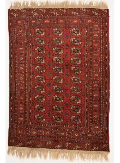 Ręcznie tkany dywan Turkmenistan Turkmen czerwony ok 130x190cm 100% wełna