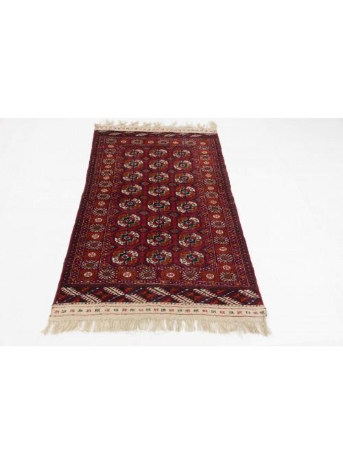Ręcznie tkany dywan Turkmenistan Turkmen czerwony ok 100x140cm 100% wełna