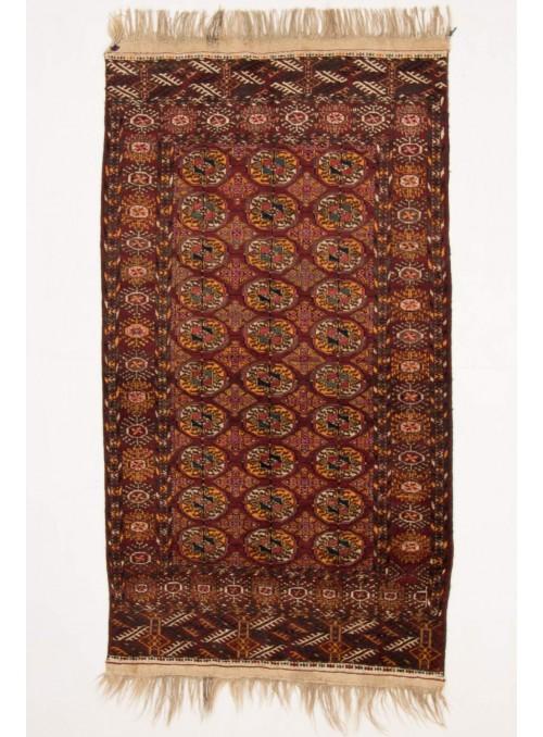 Ręcznie tkany dywan Turkmenistan Turkmen czerwony ok 110x200cm 100% wełna