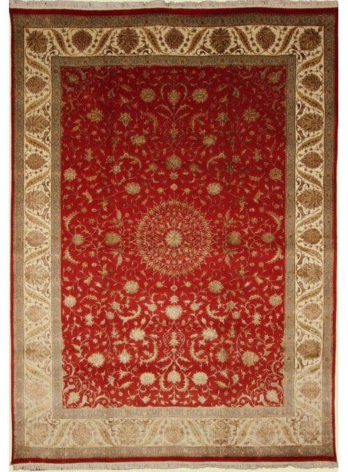 Classic hand made carpet Tabriz 245x350cm wool and silk red