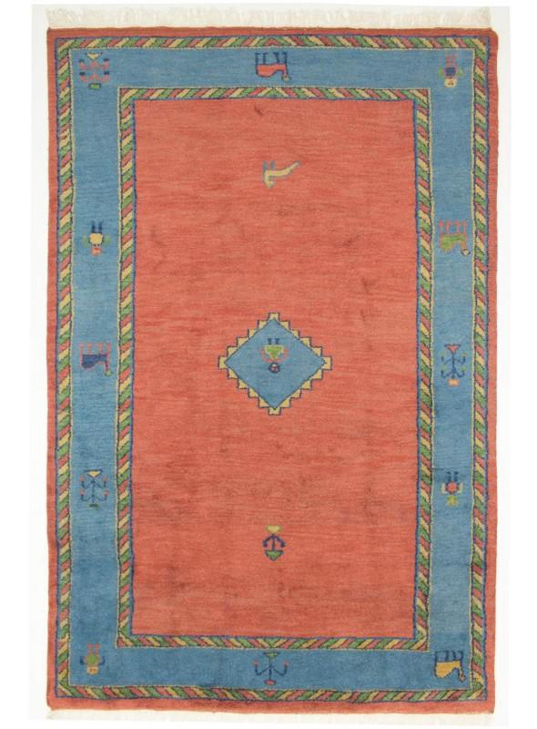 Handgeknuepft Orientteppich Indien Gabbeh 200x300cm Wolle Blau