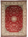 Classic hand made carpet Tabriz 245x345cm wool and silk red