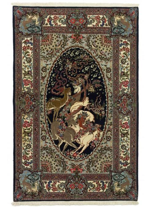 Perser luxus Bildteppich Ghom ca. 130x210cm 100% Schurwolle Iran Blumen