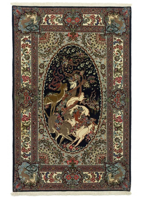 Hand-made persian luxury picture-carpet Qum ca. 130x210cm 100% wool Iran