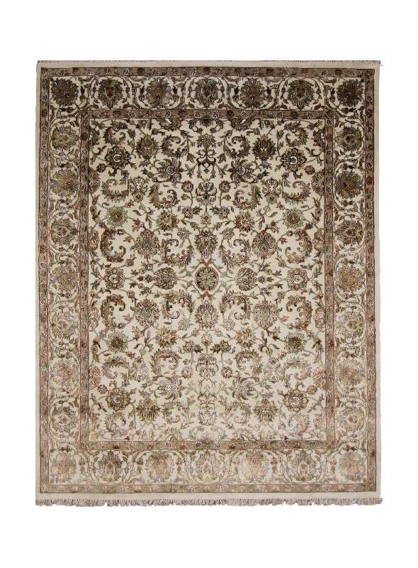 Orient Teppich Handgeknüpft Iran Tabriz 250x300cm Wole mit Seide beige