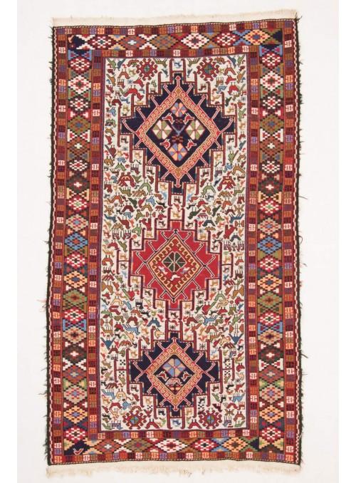 Ręcznie haftowany dywan Sumak Iran 120x205cm wełna płasko tkany