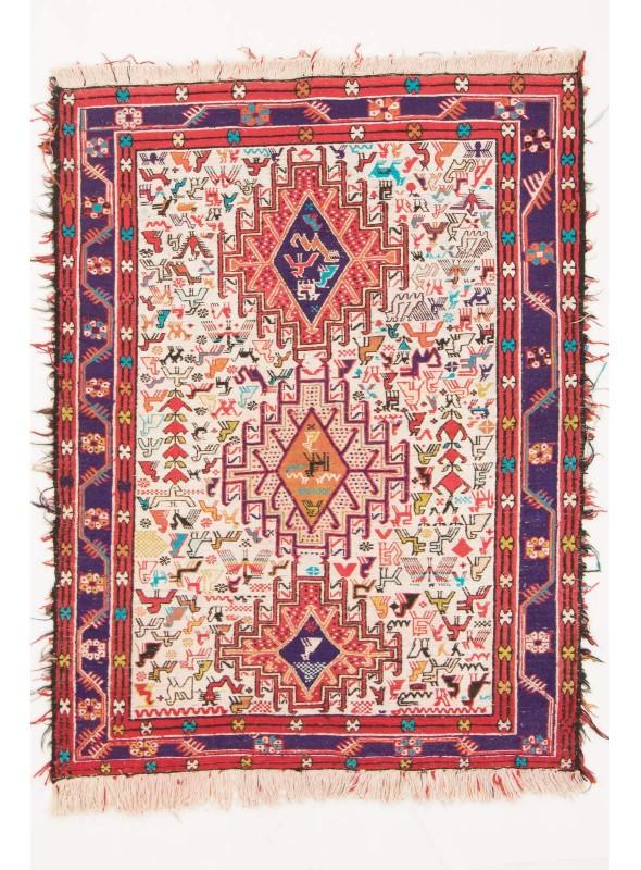 Handgewebt Orientteppich Iran Sumakh Seide Wolle 100x130cm