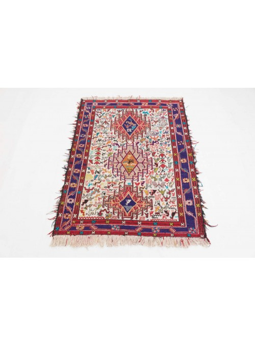 Ręcznie haftowany dywan Sumak Iran 120x205cm wełna i jedwab płasko tkany