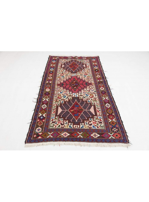 Hand-woven persian luxury carpet Sumakh flat woven ca. 115x200cm wool and silk Iran runner