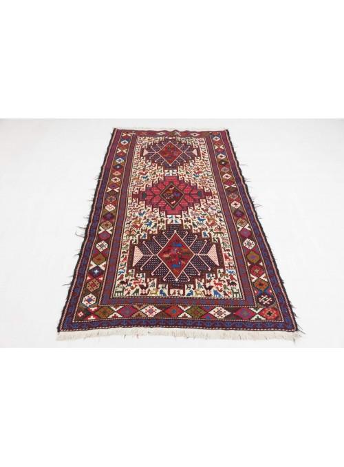Hand-woven persian luxury carpet Sumakh flat woven ca. 115x200cm wool and silk Iran runner