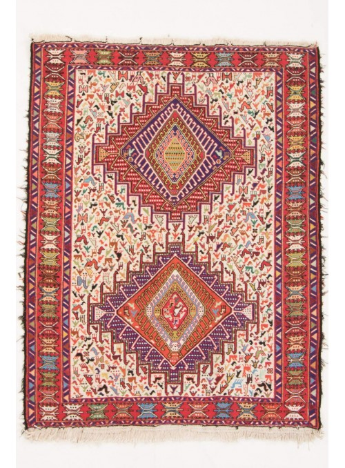Hand-woven persian luxury carpet Sumakh flat woven ca. 100x150cm wool and silk Iran