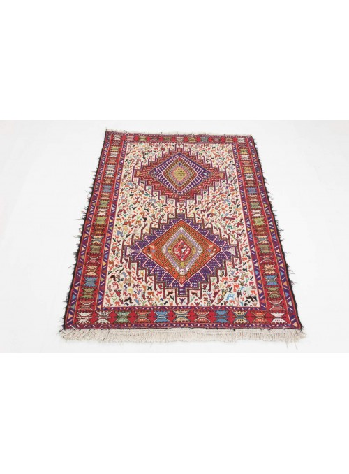 Ręcznie haftowany dywan Sumak Iran 100x150cm wełna i jedwab płasko tkany