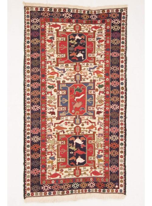Perser luxus teppich Sumakh 110x200cm flach gewebt Wolle und Seide Iran Läufer