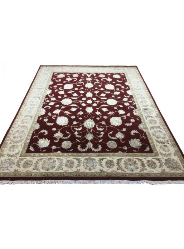 Classic hand made carpet Tabriz 250x340cm wool and silk burgundy