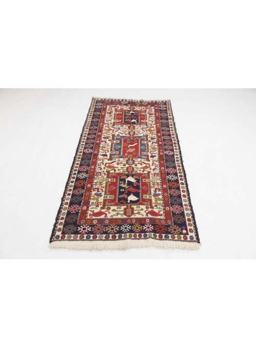 Hand-woven persian luxury carpet Sumakh flat woven ca. 110x200cm wool and silk Iran runner