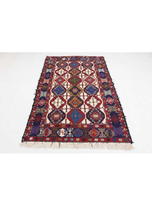 Hand-woven persian luxury carpet Sumakh Shahsavan flat woven ca. 140x200cm wool and silk Iran
