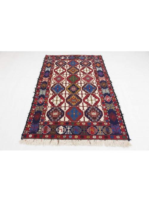 Ręcznie haftowany dywan Sumak Shahsavan Iran ok 140x200cm wełna i jedwab płasko tkany