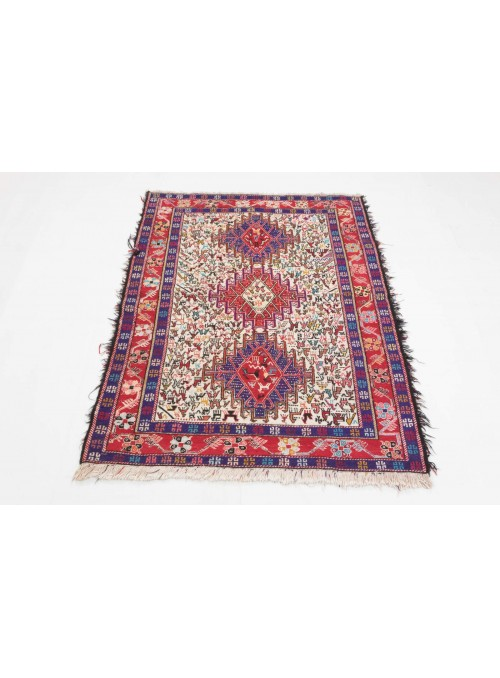Hand-woven persian luxury carpet Sumakh Shahsavan flat woven ca. 110x140cm wool and silk Iran
