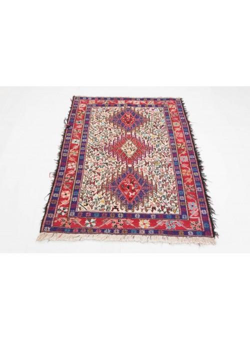 Ręcznie haftowany dywan Sumak Shahsavan Iran ok 110x140cm wełna i jedwab płasko tkany