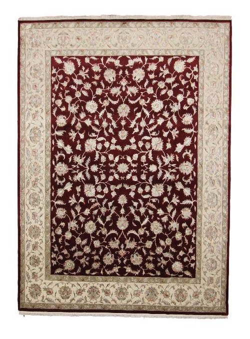 Classic hand made carpet Tabriz240x310cm wool and silk burgundy