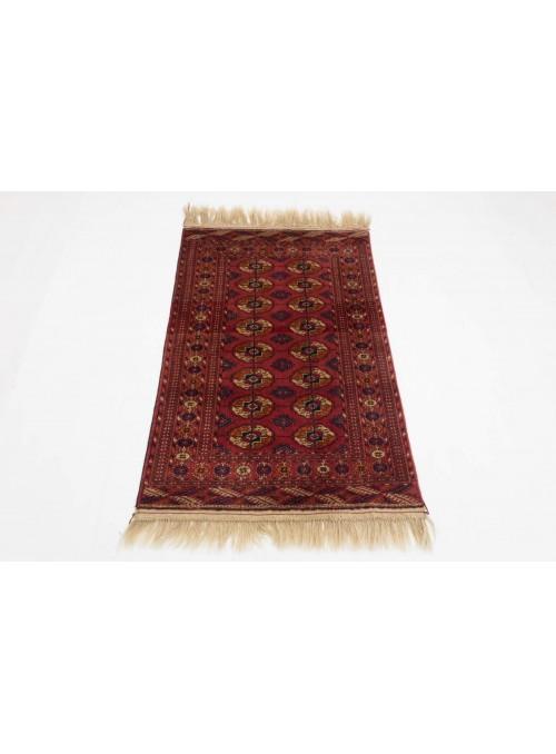Ręcznie tkany dywan Turkmenistan Buchara czerwony ok 80x120cm 100% wełna