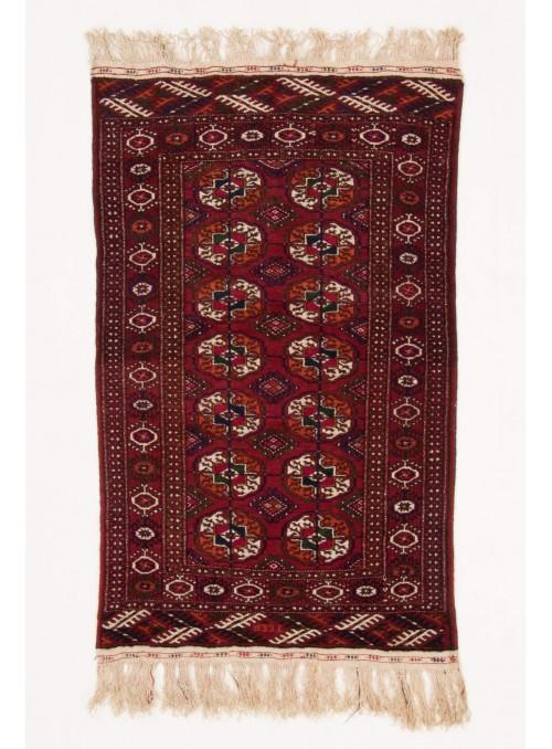 Ręcznie tkany dywan Turkmenistan Buchara czerwony ok 80x130cm 100% wełna