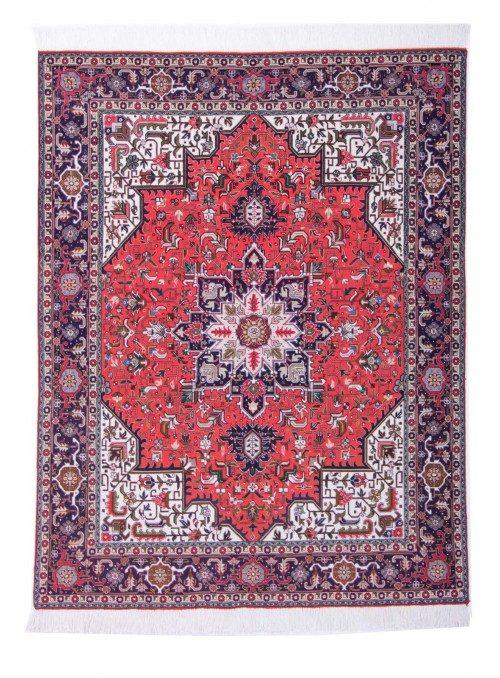 Hand made carpet Tabriz Mahi 40Raj 150x200cm wool classic red