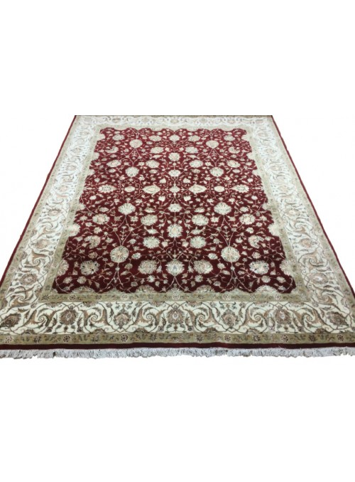 Classic hand made carpet Tabriz 275x365cm wool and silk burgundy
