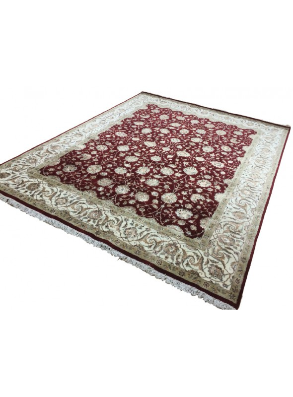 Classic hand made carpet Tabriz 240x300cm wool and silk burgundy