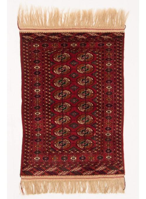 Ręcznie tkany dywan Turkmenistan Buchara czerwony ok 90x125cm 100% wełna