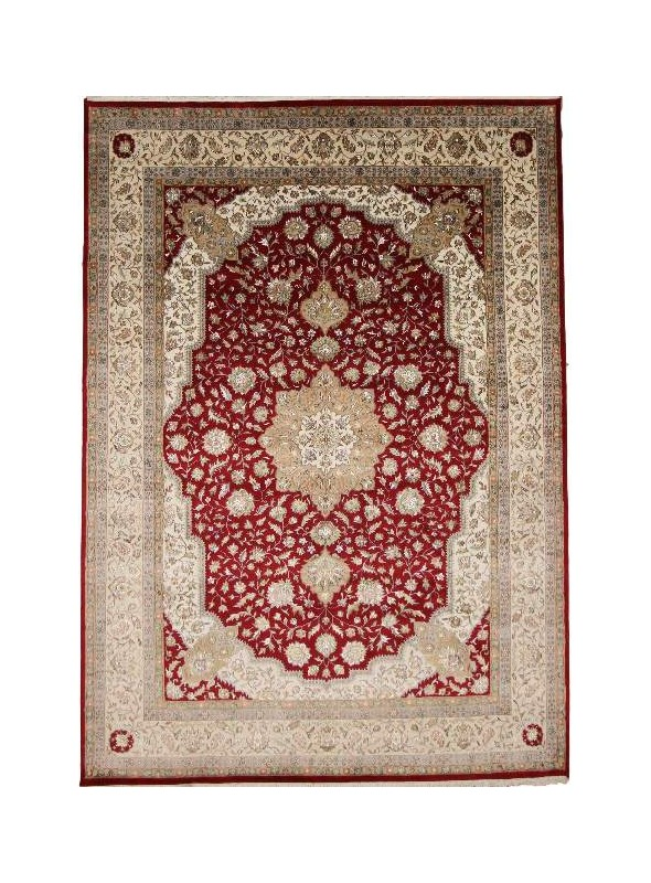 Classic hand made carpet Tabriz 250x350cm wool and silk burgundy