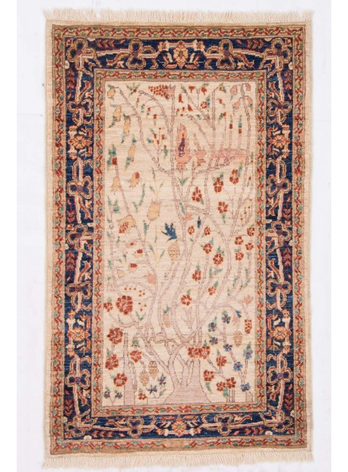 Ręcznie tkany kwiatowy dywan Afganistan Chobi Ziegler ok 80x130cm wełna wysokogórska