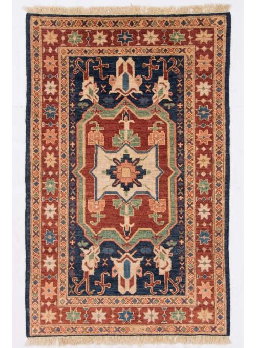 Ręcznie tkany geometryczny dywan Afganistan Chobi Ziegler ok 90x150cm wełna wysokogórska