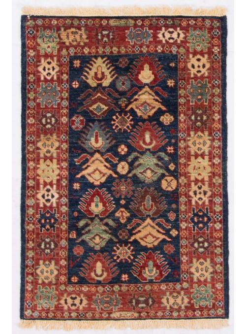 Ręcznie tkany geometryczny dywan Afganistan Chobi Ziegler ok 80x115cm wełna wysokogórska