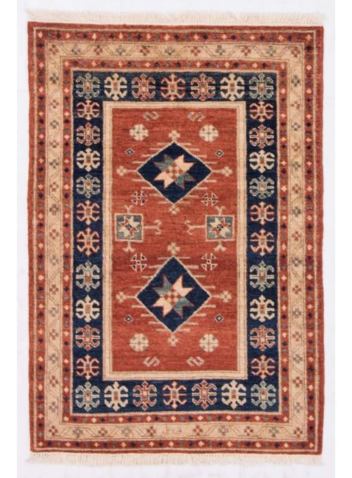 Ręcznie tkany geometryczny dywan Afganistan Chobi Ziegler ok 80x125cm wełna wysokogórska