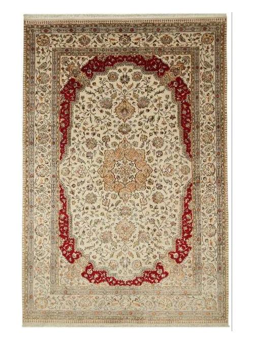 Orient Teppich Handgeknüpft Iran Tabriz 200x300cm Wole mit Seide beige