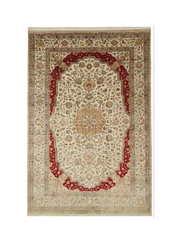 Hand made carpet Tabriz 200x300cm wool and silk beige