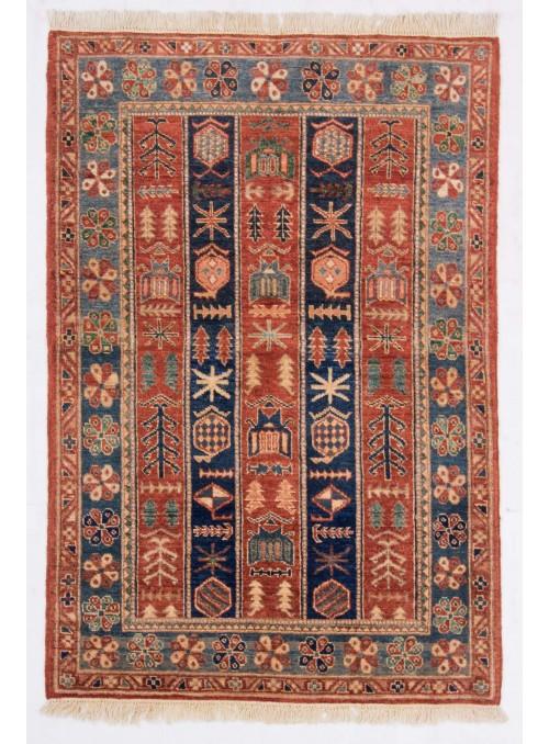 Hand-made geometric carpet Afghanistan Chobi Ziegler ca. 100x150cm highland wool