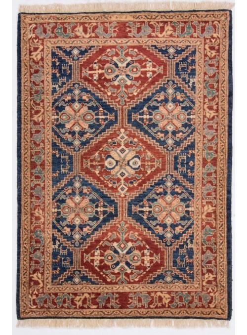 Hand-made geometric carpet Afghanistan Chobi Ziegler ca. 110x160cm highland wool