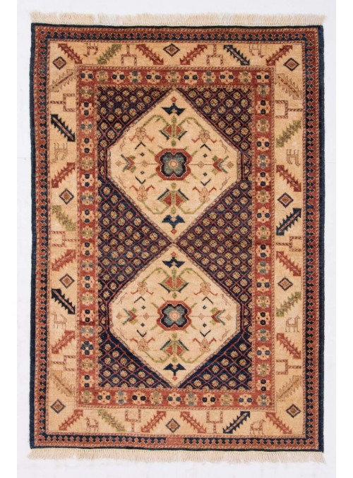 Hand-made carpet Afghanistan Chobi Ziegler ca. 100x150cm highland wool