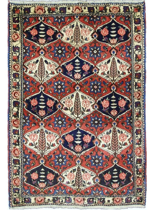 Hand made carpet Bakhtiari 100x150cm 100% wool red