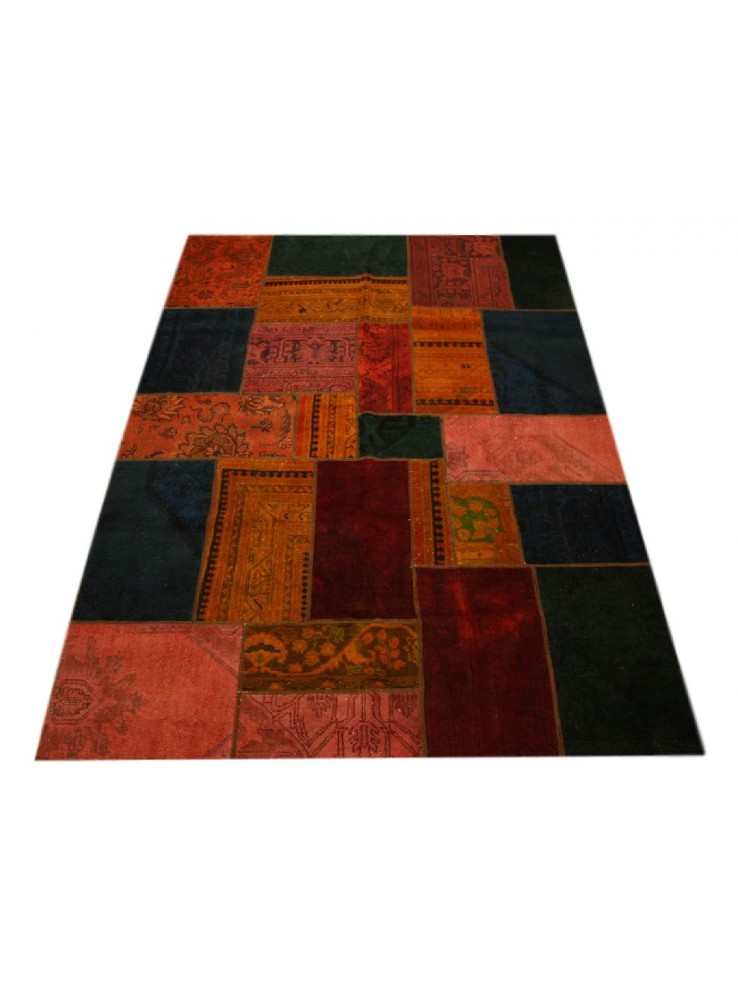 handgeknuepft orientteppich iran patchwork 170x240m wolle bunt vintage. Black Bedroom Furniture Sets. Home Design Ideas