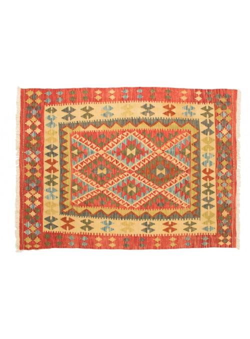Dywan Kilim Maimana Czerwony 150x200 cm Afganistan - 100% Wełna owcza